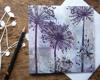 Allium Seedheads Greetings Card, Louise Pettifer, Gardeners Card, Flowers Card, Floral Card, Artist Cards, Blank Cards, Gardens, flowers