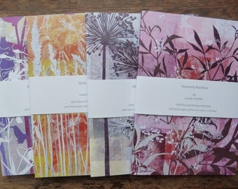 Set of Four A5 Recycled Notebooks, A5 Notepads, 80 Plain Pages, Louise Pettifer, Louise Pettifer Artist, Floral Notebooks, Flower Notebooks