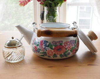 vintage floral teapot with small sugar dish