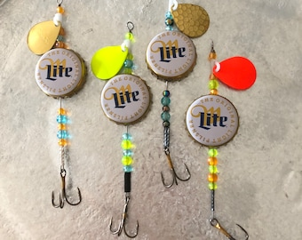 Miller beer bottle cap fishing lures