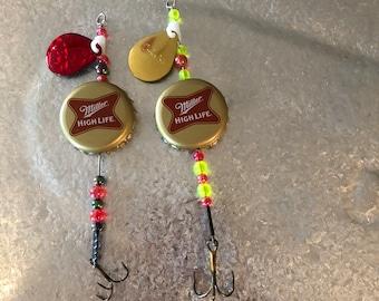 Miller HighLife bottle cap fishing lures