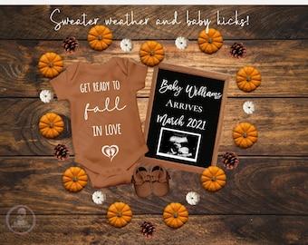 Autumn Instagram Facebook Editable Thanksgiving Pregnancy Announcement Birth Announcement Social Media Fall Halloween Pumpkin