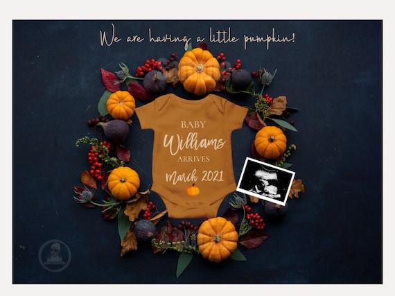 Editable Fall Pregnancy Announcement Autumn Pumpkin