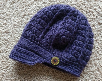 Crochet Brimmed Hat with Button