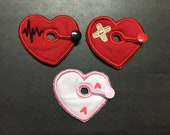 Heart with Bandaid or Heart with Heart Beat Wave G-Tube Pads G Tube covers Mic-Key AMT Mini One feeding tube pads Tubie Pads