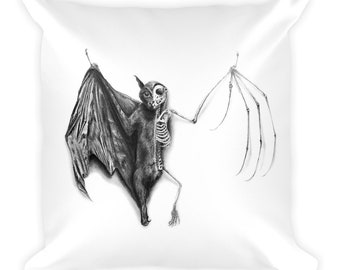 Half Taxidermied Bat Throw Pillow
