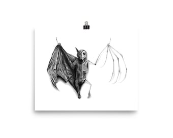 Half Taxidermied Bat Art Print