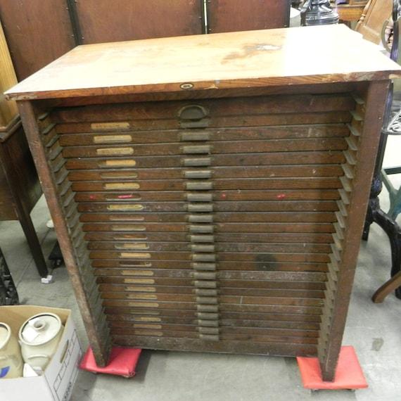 image 0 - Antique Printers Cabinet-Oak Etsy