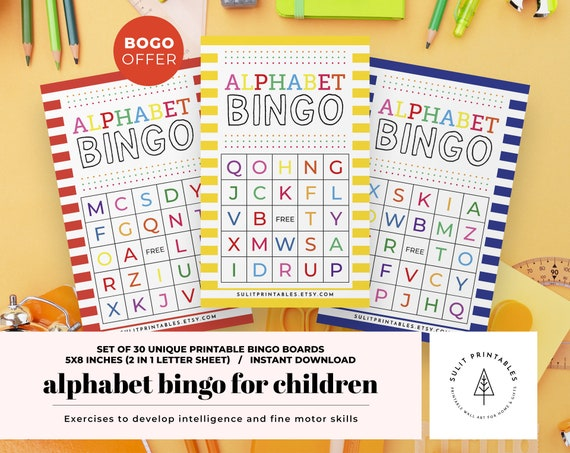 Alphabet Bingo For Children Printable Bingo Fun Learning For Etsy