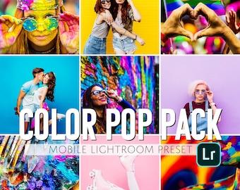 Mobile Lightroom Presets / 4 Pack Color Pop Mobile Presets / Blogger Presets for Light Enhanced Photos Editing / Adobe Lightroom Mobile