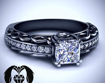 32d61ff4c Vintage Goth Princess Infinity Diamond Engagement Ring