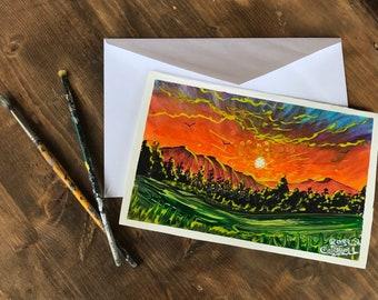 Hand Painted Original Greeting Card