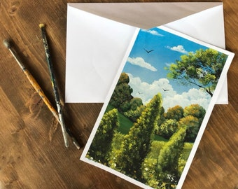 Hand Painted Original Greeting Card.