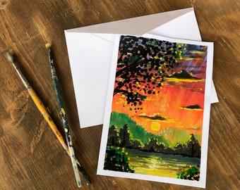 Hand Painted, Original Greeting Card