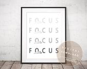 FOCUS - [ PRINTABLE ] Motivational Poster | Digital Download | Inspiring Wall Art French Bulldog | Minimalist Modern Frenchie Typography Art