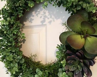 Succulent Wreath With Hanging Bow