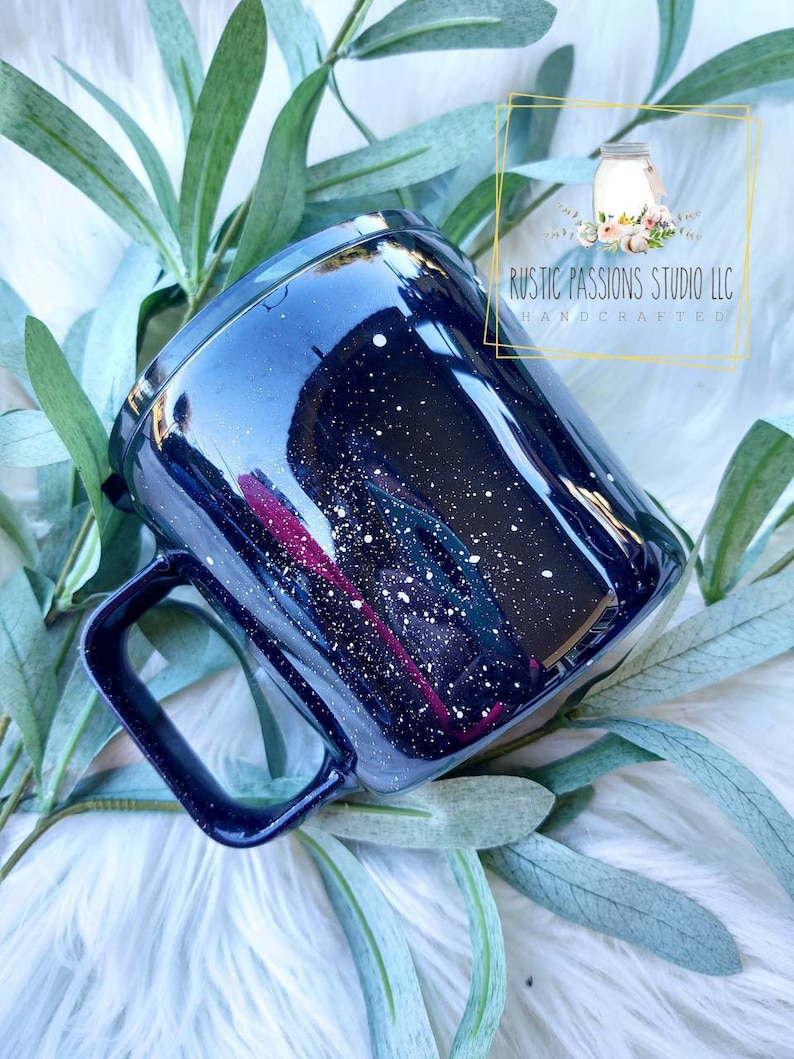 14 oz stainless steel adventure cup Custom Tumbler black speckled coffee camp cup READY to SHIP Adventure Awaits Campfire Epoxy Tumbler