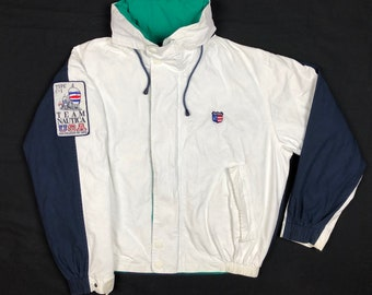 56364e1ed2 Vintage 90s Nautica Team Usa Sailing Mens XL White Navy Blue Color Block Full  Zip Hooded Jacket