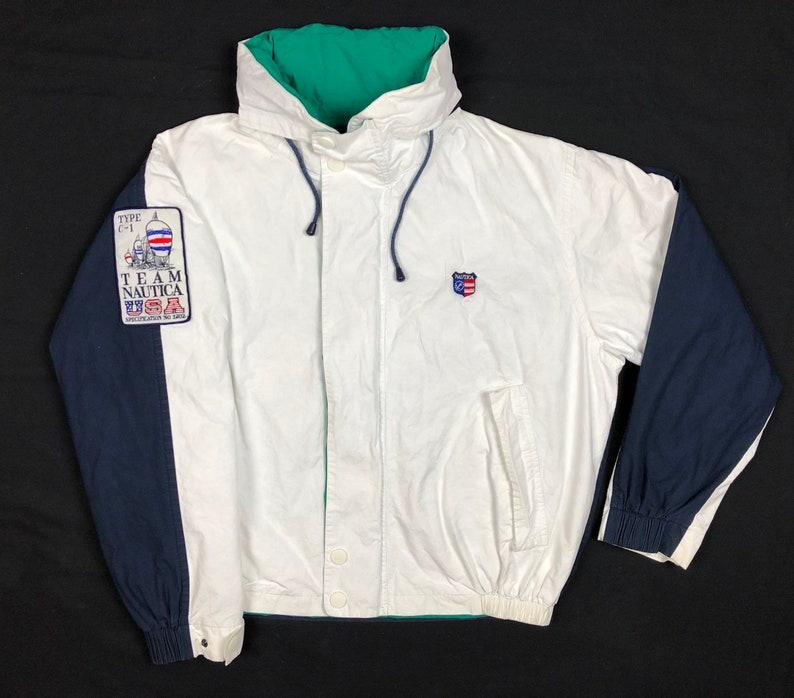 98f008873 Vintage 90s Nautica Team Usa Sailing Mens XL White/Navy Blue Color Block  Full Zip Hooded Jacket