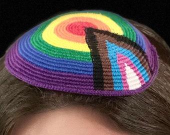 "The ""Hagadol Hanurah"" LGBTQ Progress Pride Kippah /Yarmulke Celebrating Queer Jews of All Colors in the USA, Israel & Kol Ha'Olam -TWO sizes"