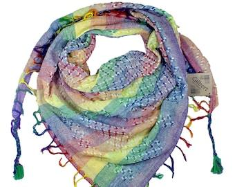 "The ""Gilbert"" LGBTQ Rainbow Pan/Pride Keffiyeh Scarf Shawl Bandanna (works as a face mask)"
