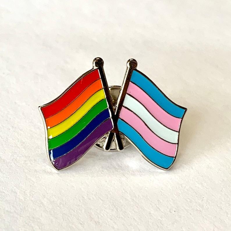 The LGBTQ  TRANSGENDER Rainbow Pride DOUBLE Flag Pin Badge image 1
