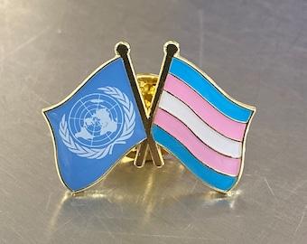 UNITED NATIONS + TRANSGENDER Pride Double Flag Pin Badge for Lapels, Shirts, Backpacks, Hats, etc...