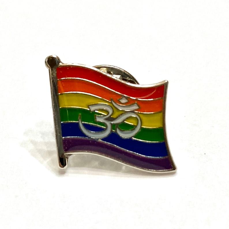 LGBTQ Pride Om  Hindu Buddhist and Jain Rainbow Pin Badge for image 0