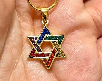 Jewish Rainbow Star of David Swarovski GOLD Necklace Pendant LGBTQ