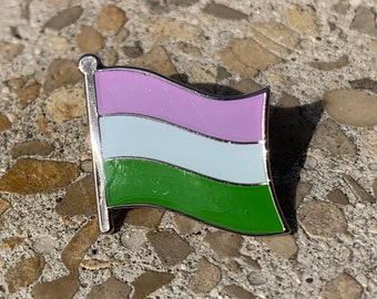 Genderqueer (LGBTQ) Pride Flag Silver-Back Pin Batch for Lapels, Shirts, Backpacks, Hats, etc...