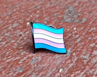 Transgender (LGBTQ) Pride Flag Silver-Back Pin Badge for Lapels, Shirts, Backpacks, Hats, etc...
