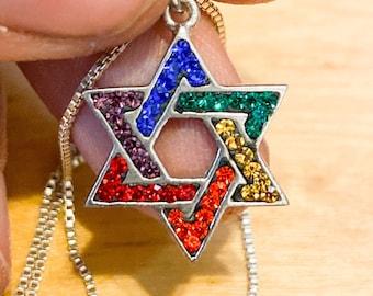 Jewish Rainbow Star of David Swarovski Silver Necklace Pendant LGBTQ - two sizes, silver and gold