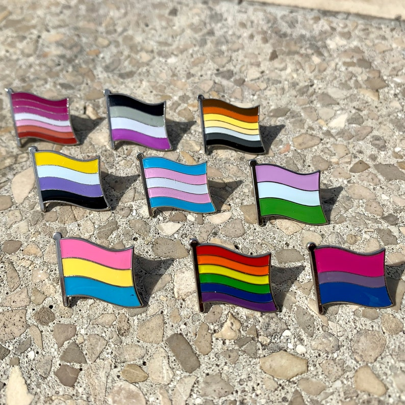 9-Piece COLLECTION  LGBTQ Pride Pins for Lapels Shirts image 0