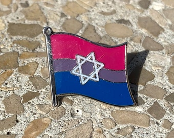 Bisexual Pride & Star of David Jewish + Israel Pin Badge for Lapels, Shirts, Backpacks, Hats, etc...