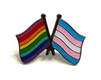 Gilbert Baker Original 8-Stripe LGBTQ + Monica Helms TRANSGENDER Rainbow Pride DOUBLE Flag Pin Badge