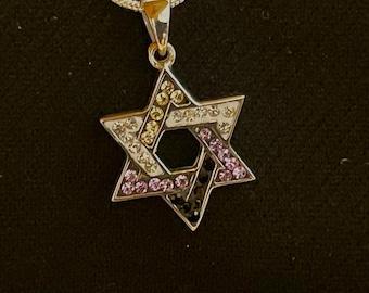 "Jewish Nonbinary ""Enby"" Star of David Swarovski Silver Necklace Pendant - LGBTQ"
