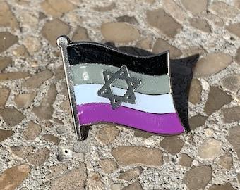 Asexual Pride & Star of David Jewish + Israel Pin Badge for Lapels, Shirts, Backpacks, Hats, etc...