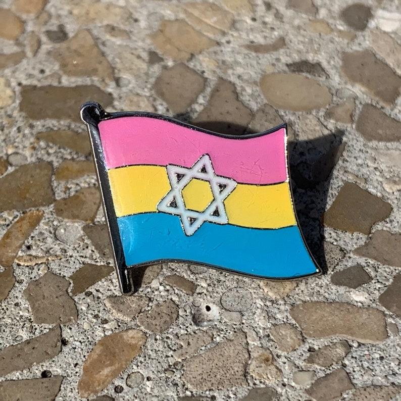 Pansexual Pride & Star of David Jewish  Israel Pin Badge for image 0