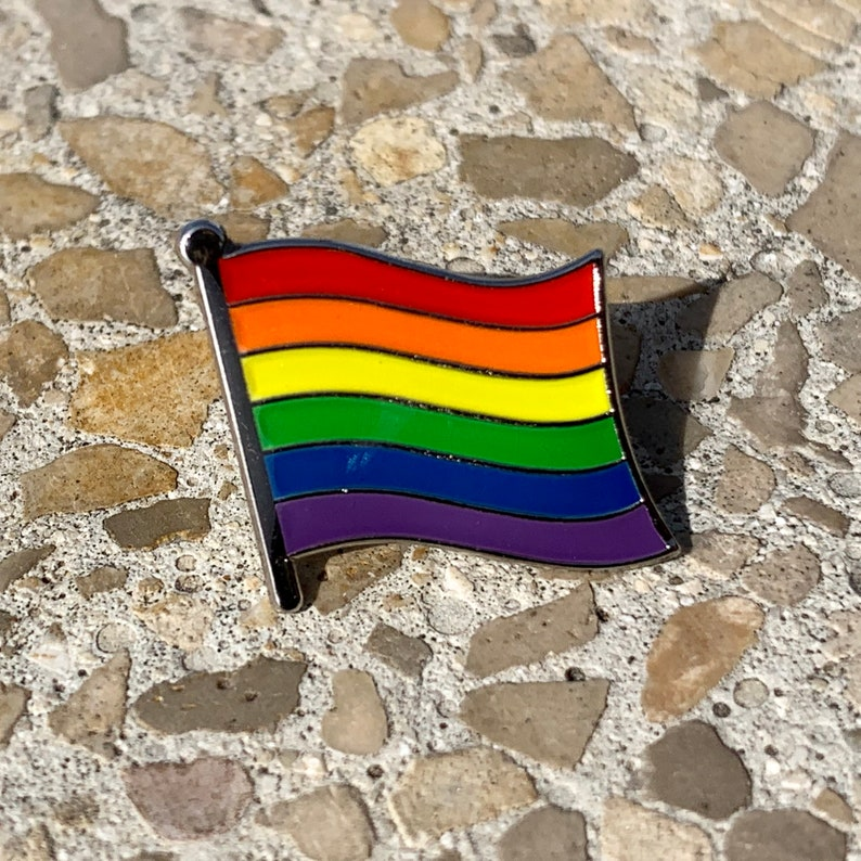 The Pence LGBTQ Pride Silver-Back Rainbow Flag Pin image 0