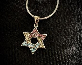 Jewish Pan Star of David Swarovski Silver Necklace Pendant LGBTQ - two sizes