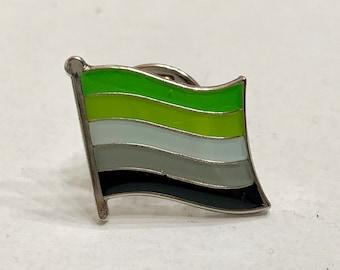 Aromantic (LGBTQ) Pride Flag Silver-Back Pin Badge for Lapels, Shirts, Backpacks, Hats, etc...