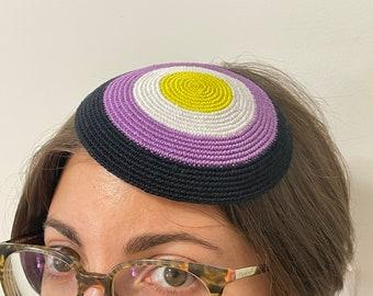 Non-binary Pride Kippah /Yarmulke Celebrating Queer Jews of All Identities in the USA, Israel & Kol Ha'Olam
