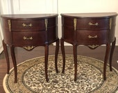 Louis XV-style Semi Antique Victorian Old World French Country Matching Side Tables with Drawers