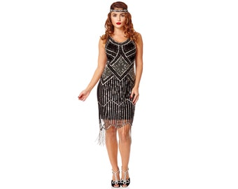 Black Fringe Flapper Dress 1920s Great Gatsby Art Deco Downton Abbey Charleston Bridesmaid Wedding Reception Bridal Shower Beach