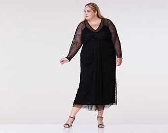 plus size nell black long sleeve gown maxi prom dress 1920s great gatsby art deco downton abbey bridesmaid wedding reception bridal shower