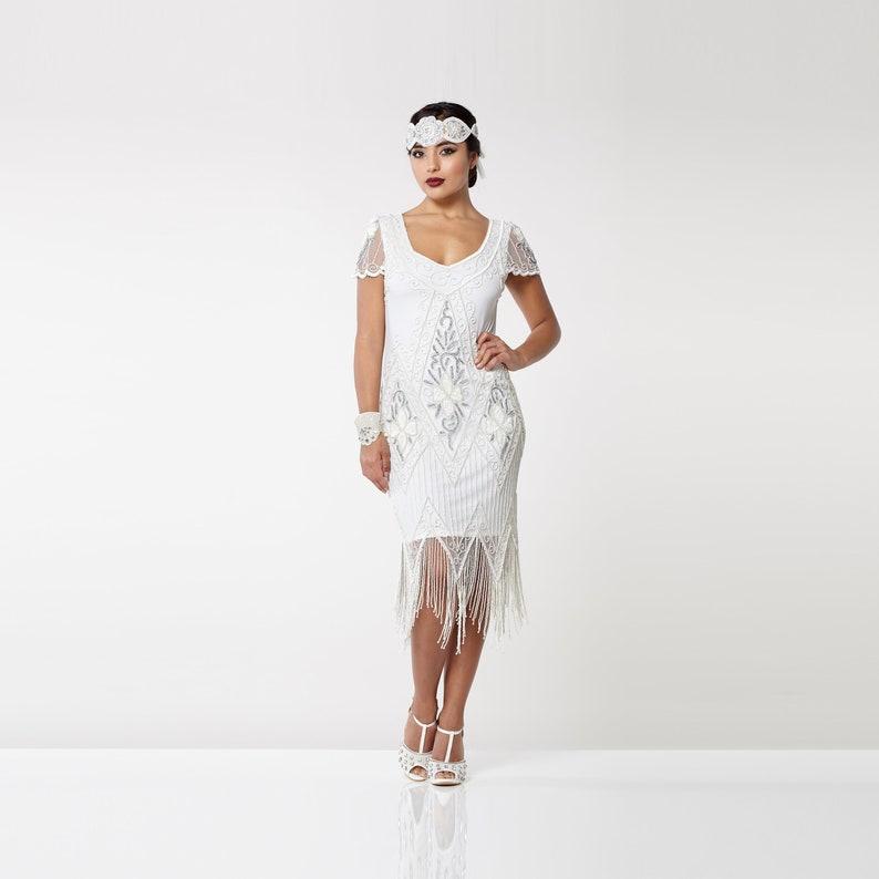 White Flapper Dress 20s Great Gatsby Art Deco Downton Abbey image 0