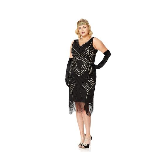 Plus size Black Flapper Fringe Dress 1920s Great Gatsby Art Deco Hand  Embellished