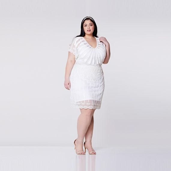 Plus Size Angel Sleeve Off White Wedding Dress Bridal Shower Etsy