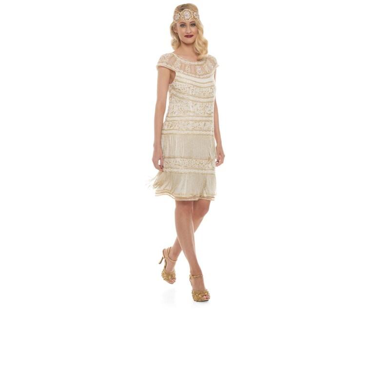 Vintage Inspired Ivory Gold Flapper Fringe Dress Hand Embellished