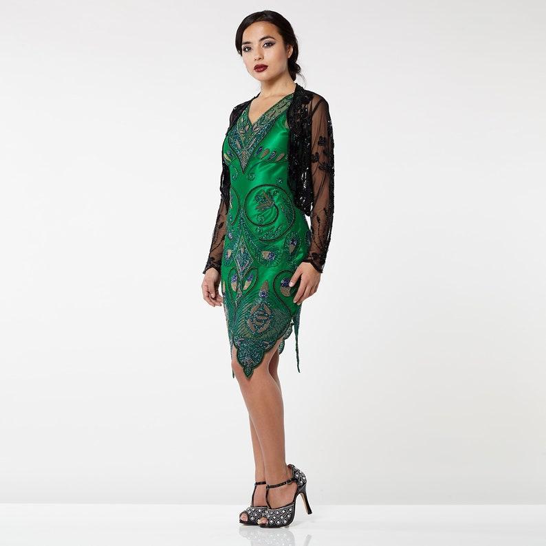 Tess Flapper Black Jacket Bolero Plus Size 20s Wedding Great Gatsby Art Deco Downton Abbey Shrug cape Cover up New